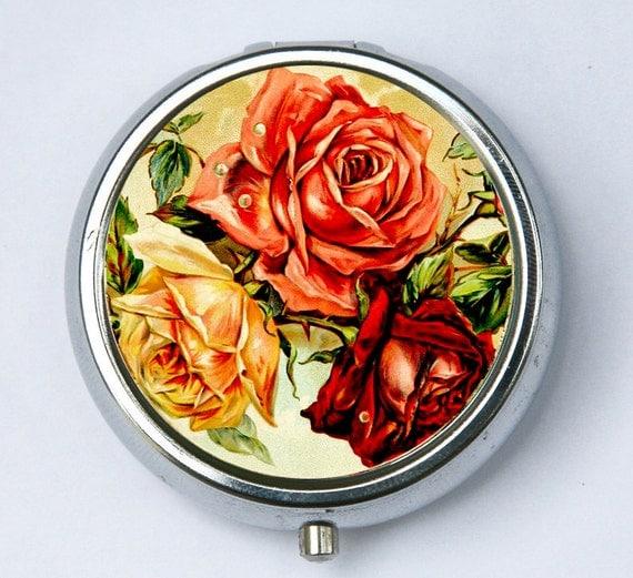 Roses pillbox pill case PILL box holder flowers love pretty DIY botanical