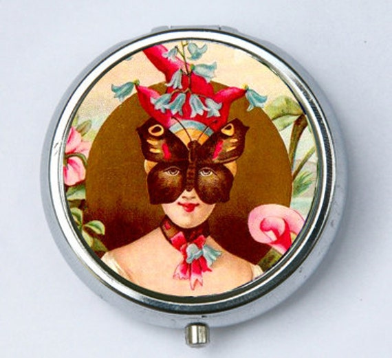 Masked Lady PILL CASE pillbox pill box holder mysterious retro art deco butterfly mask flowers