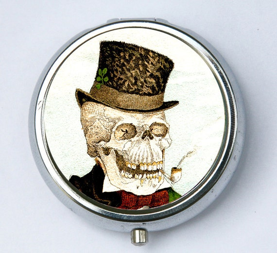 Skeleton Smoking PILL case pillbox pill box holder gothic goth odd victorian