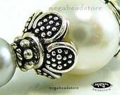 BALI Sterling Silver Bead Cap 8.5mm Handmade Caps C48 - 6 pcs