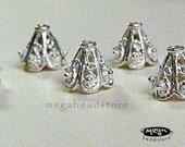 9mm Bali Bright Sterling Silver Bead Caps Filligree Cone C36Bs - 6 pcs