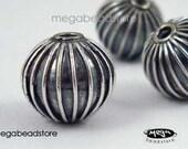 10mm Patina Lanter Beads Sterling Silver Bali Handmade Beads B244- 2 pcs