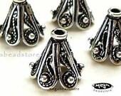10mm Patina Bead Caps Filigree Bali 925 Sterling Silver 10mm C36- 4 pcs