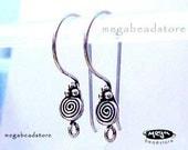 Bali Sterling Silver Ear Wire Handmade Earring Hooks F193 -10 pcs