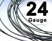 10 feet 24 Gauge Dark Oxidized Sterling Silver Wire HH