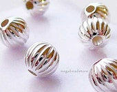 50 pcs 3mm Sterling Silver Beads Corrugated Beads B39C