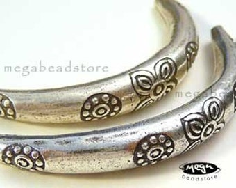 2 pcs 925 STERLING SILVER Curved Elbow Tube Karen Hill Tribe Thai Beads KB8