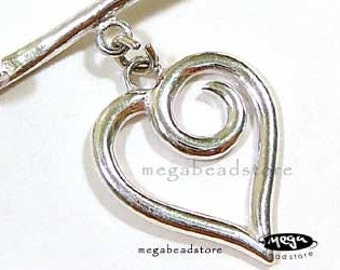 Large Heart Toggle 925 Sterling Silver Clasp 22mm T94- 1 set