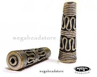 2 pcs Long 20mm Cone Beads Bali 925 Sterling Silver Handmade B228