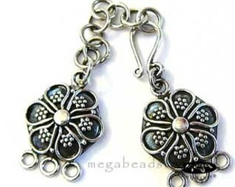 3-strand Antique Necklace Clasp Bali 925 Sterling Silver Handmade Hook Clasps T75 -1 set