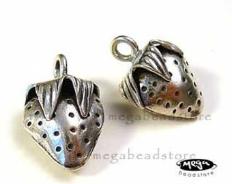 Strawberry Charm Patina 925 Sterling Silver Karen Hill Tribe Thai Findings KF1-1 pc