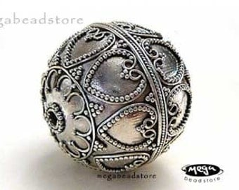 20mm Large Bali Sterling Silver Focal Bead Pendant 21mm B88