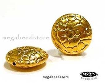 12mm Lentil Beads With Pattern VERMEIL Gold Bali Beads B150Vs- 2 pcs