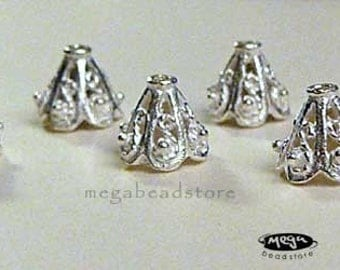 6 pcs 9mm Bali Bright Sterling Silver Bead Caps Filligree Cone C36Bs