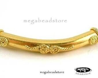 2 pcs VERMEIL Elbow Bead Curved Long Tube Beads For Bangle B58V