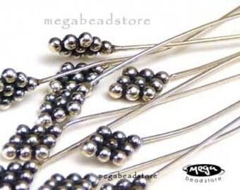 8 pcs 24 Gauge Paddle Head Pins Bali Sterling Silver HeadPins F209