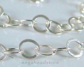 4.5 feet Flatten 925 Sterling Silver Chain 3.5mm Flat Ring links CH38