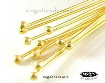 10 pcs 27 Guage Single Dot Head pins Vermeil Gold Gem Stone Headpins F08V
