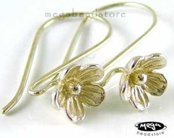 4 pcs Large Flower 925 Sterling Silver Ear Wires F133B