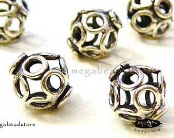 10 pcs 7mm Cage Beads Bali 925 Sterling Silver Handmade Bead B260
