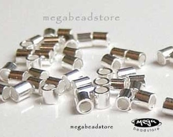 2mm Sterling Silver Crimp Beads Wholesale Lot Tube Spacers- 500 pcs