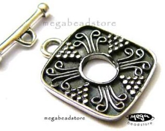 Patina Oxidized Toggle Square 925 Sterling Silver Handmade Clasp T67-S