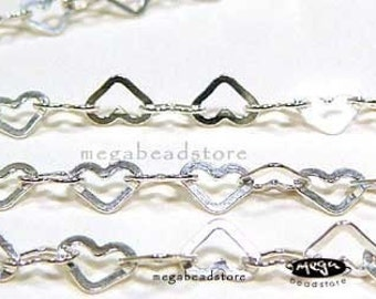 8 Inch 5.5mm Heart Shape Chain 925 Sterling Silver Flat Ring CH1