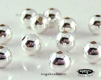 50 pcs 3mm Sterling Silver Spacer Seamless Round Beads B39-3