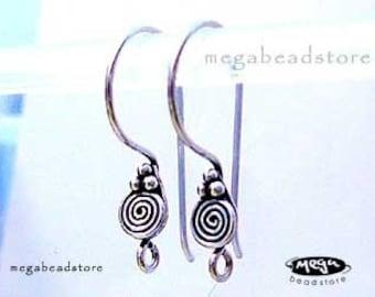 Bali Sterling Silver Earwires Swirl Ear Wire Earring Hooks F193 -10 pcs