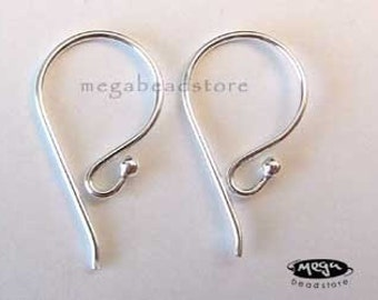 20 Gauge Ear Wires Single Dot 925 Sterling Silver  Earring Hooks F120- 10 pcs