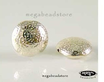 5 pcs 9mm Lental Hammered Beads Bali 925 Sterling Silver Handmade Beads B18