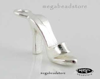 4 pcs 925 Sterling Silver High Heel Shoe Charm Girl Shopping Charm F91