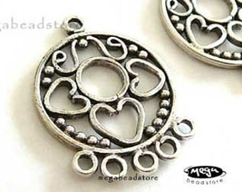Large Patina Connector Bali 925 Sterling Silver Pendant Charm Holder Connector F14- 1 pc
