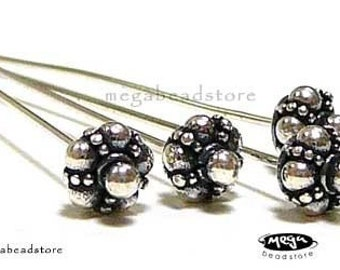 10 pcs 22 Gauge Patina Head Pins Bali Sterling Silver 925 HeadPins F261