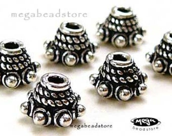 12 pcs 6mm Patina Oxidized Bead Caps  Bali 925 Sterling Silver Handmade C84