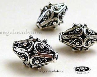 2 pcs 12mm Oxidized Patina Beads Bali 925 Sterling Silver B223