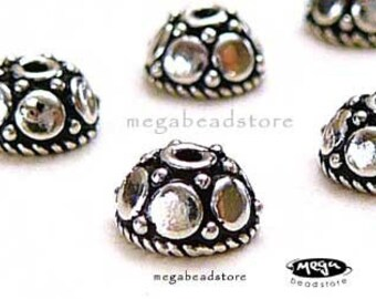 12 pcs 5mm Bead Caps Bali 925 Sterling Silver Bead Cap C26