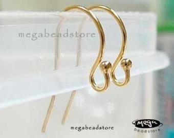 40 pcs Gold Filled Earwires Single Dot Ear Wire Earring Findings F120GF