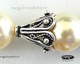 10mm Antique Filligree Bead Caps BALI 925 Sterling Silver C36- 10 pcs