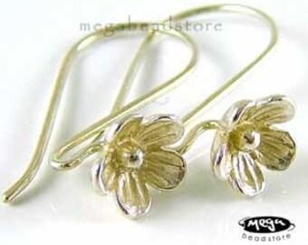 925 Sterling Silver Earwires Bali Handmade Bright Flower Ear Wires F133B- 1 pr