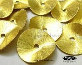 4 pcs 14mm Vermeil Gold Wavy Brushed Disc Coin Potato Chip B126V