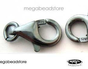 5 pcs 10mm Patina Oxidized 925 Sterling Silver Lobster Clasp F44Z