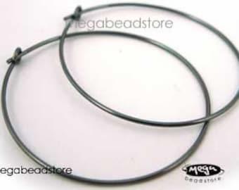 10 pcs 30mm Dark Oxidized 925 Sterling Silver Beading Hoop Ear Wire F215Z