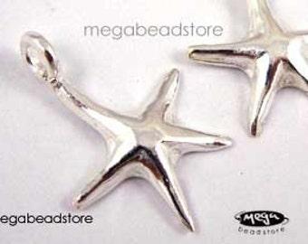 5 pcs Starfish Charms 925 Sterling Silver Star Fish F92