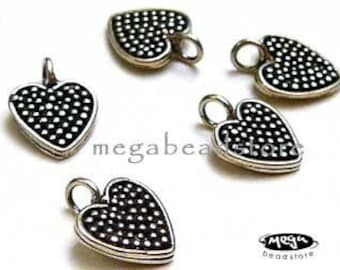 10 pcs Patina Heart Tags 925 Sterling Silver Oxidized Charms F09