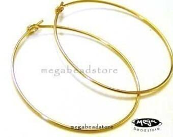 30mm Large Beading Hoop Gold Filled Hoop Earrings F215GF- 4 pcs