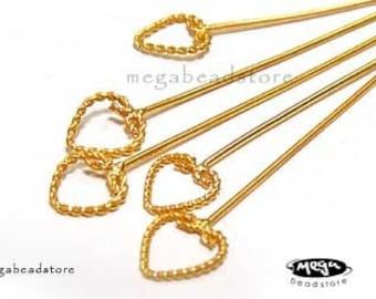 24 Gauge Head Pin Vermeil Gold Bali Heart F255V- 20 pcs