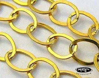 2 feet 8mm Large Gold Filled Chain Flatten Ring Link CH26