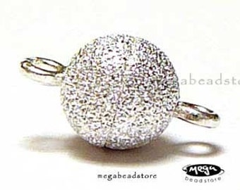 6mm  Ball Magnetic Clasp Stardust 925 Sterling Silver F284- 2 sets