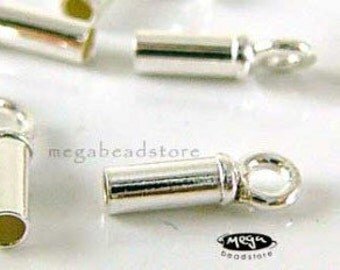 10 pcs 2mm Leather End Caps 925 Sterling Silver 925 Tip Beads F142